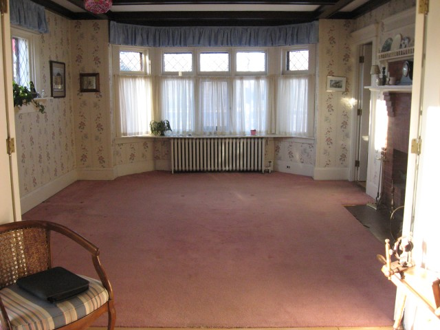 The dining room, cleared of furniture