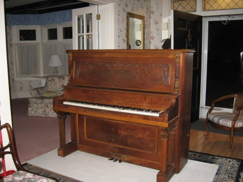 And as long as we're doing the dining room, why not the living room too?  Moving the pianos ourselves was the worst of the job!