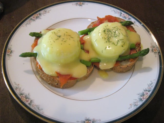Smoked Salmon & Asparagus Eggs Benedict (We also had regular Eggs Benedict for those who don't care for smoked salmon!)