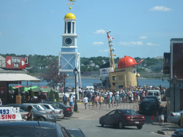 Some of the crowd at the Halifax Waterfront during the Busker Festival