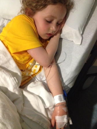 Olivia in the Truro hospital, on IV antibiotics for bacterial pneumonia. Yes, she wore her Bluenose Marathon Youth Run shirt each day from Saturday to Tuesday!