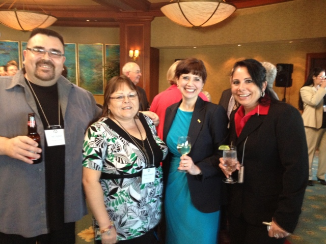 Jeff, Theresa, Anne & Heather - a tourism management reunion at the opening reception!