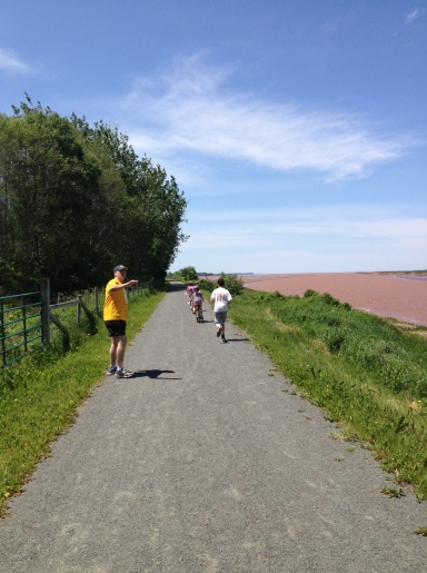 A 5km family run/bike ride along the Bay of Fundy on Father's Day