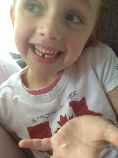 Not to be outdone on the day Sarah had a tooth pulled, Olivia lost her first tooth. The tooth fairy was busy at the Belgravia that night!