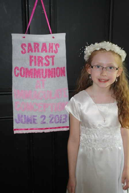 Our beautiful Sarah, wearing a dress handed down from her cousin Erin, and the headpiece I wore at our wedding dance.
