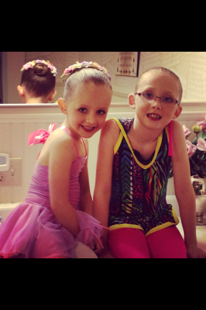 Sarah & Olivia before their dance recital. Olivia (ballet) Sarah (Jazz).