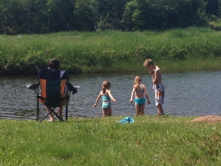 We spent an afternoon swimming and fishing at our property in Tatamagouche.