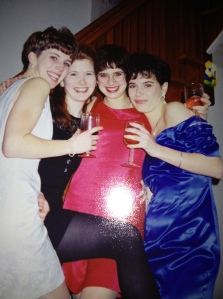 Getting ready for a charity ball at MSVU; winter 1993.