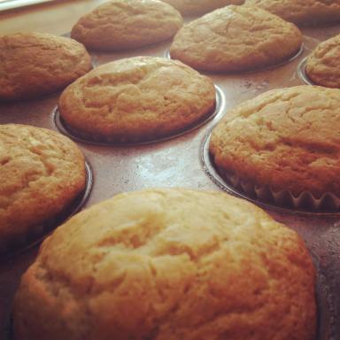 Gluten-free, dairy-free, egg-free banana muffins