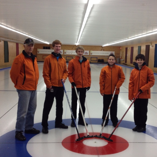Team Spinney with Coach Chuck Dyke after qualifying to continue in the 2015 Canada Games Process.