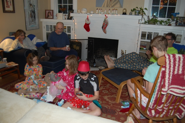 Santa found them in Portland! Opening their stockings Christmas morning.