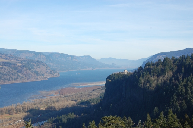 Portland Women's Forum lookoff. The Columbia River; Oregon on the right, Washington State on the left.