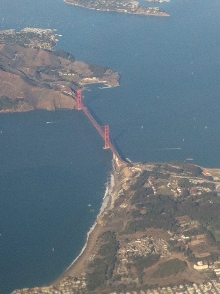 First glimpse of San Francisco and the Golden Gate Bridge