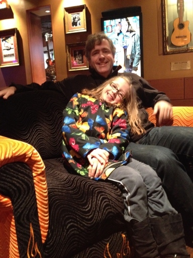 Daddy & Sarah having fun at the Hard Rock Cafe in Boston.
