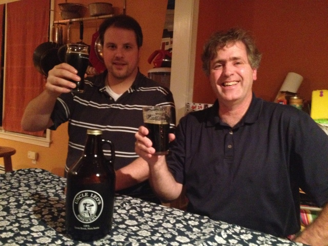 D'Arcy & Willem enjoy an Uncle Leo's Brewery Smoked Porter, brought from Nova Scotia.