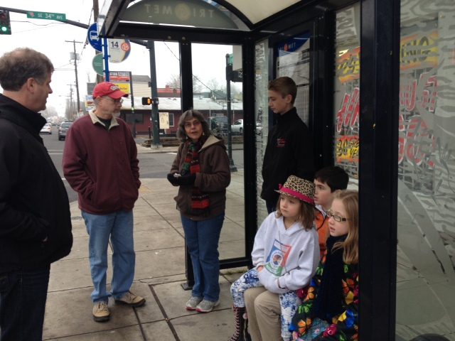 Waiting for the bus to go into downtown Portland.