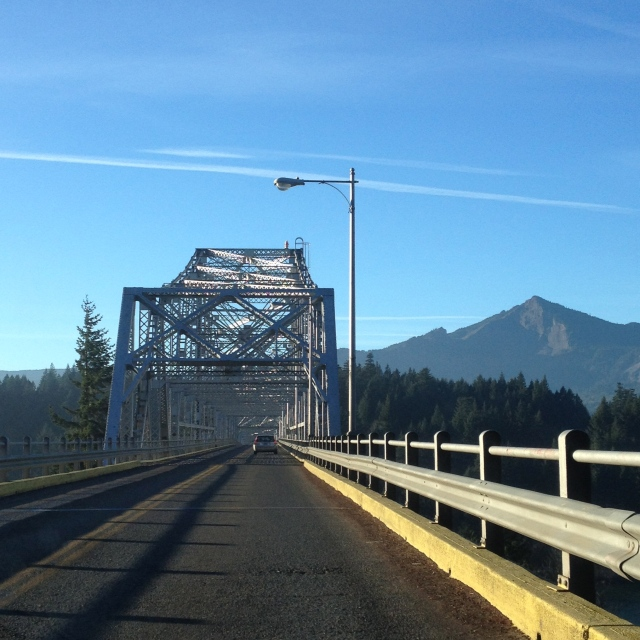 Crossing the Bridge of the Gods, across the Columbia river from Oregon to Washington State.