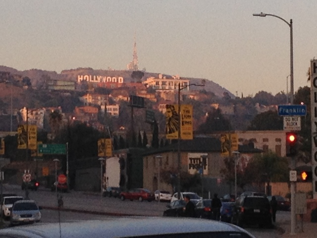 Hollywood sign in the Hollywood Hills at sunset