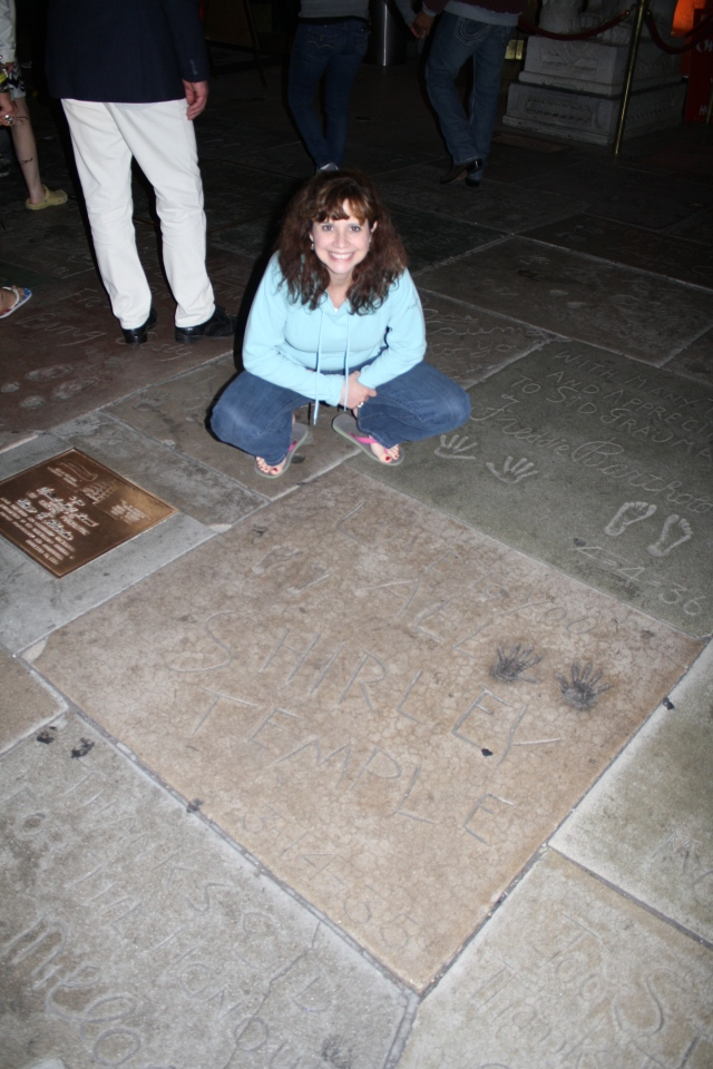 With Shirley Temple's handprints & footprints, 38 years later...