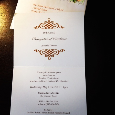 My invitation to the 19th annual Recognition of Excellence Dinner