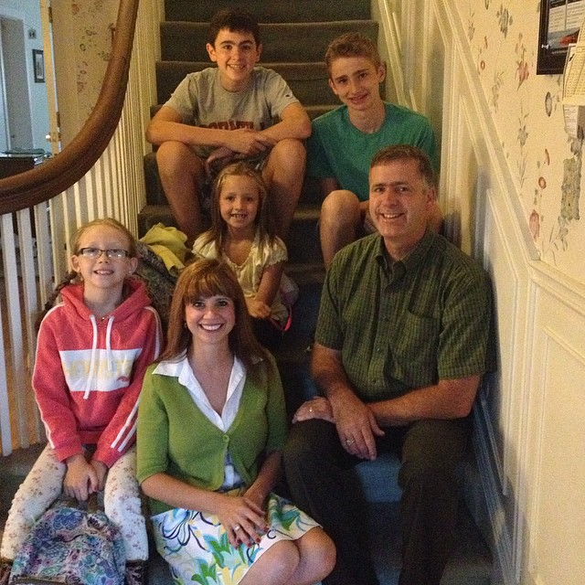 First day of School 2014: Evan Grade 10, Alexander Grade 8, Sarah Grade 4 Immersion, Olivia Grade 2 Immersion, D'Arcy Grade 7/8 Teacher, Anne NSCC School of Business Faculty