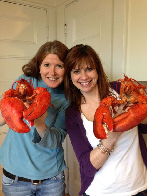 Gigantic lobsters fresh of the boat from Pictou with university friend Karen, visiting from Yellowknife, NT