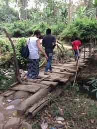 Crossing the scary bridge!
