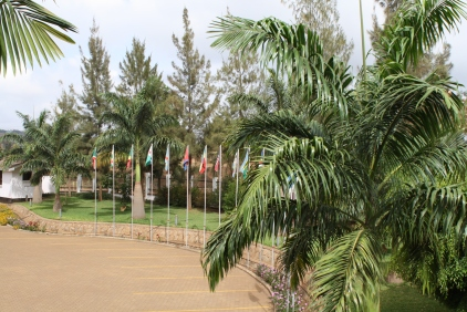 Flags at the front entrance