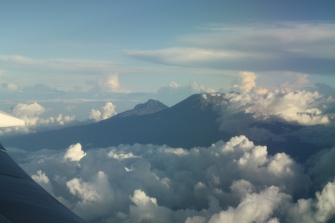 Mt. Kilimanjaro from in the air above the clouds