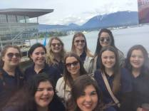 Posing outside Canada Place